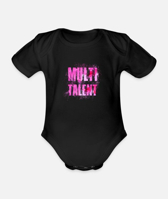 Multi Talent Geschenkidee Baby Bodys - Multi Talent - Baby Bio Kurzarmbody Schwarz