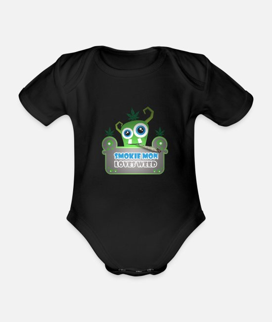 Cannabis Baby Bodysuits - Cool T-Shirt Smoke Weed Monster Gift Idea - Organic Short-Sleeved Baby Bodysuit black
