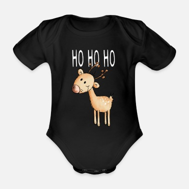 Advent Ho Ho Ho Little Reindeer - Christmas - Organic Short-Sleeved Baby Bodysuit