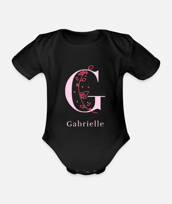 Beauty Baby Bodysuits - Gabrielle last name first name maiden name women gift - Organic Short-Sleeved Baby Bodysuit black