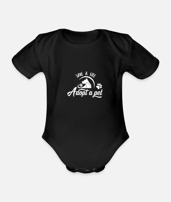 Dog Motif Baby Bodysuits - Dog dogs dog lovers dog - Organic Short-Sleeved Baby Bodysuit black