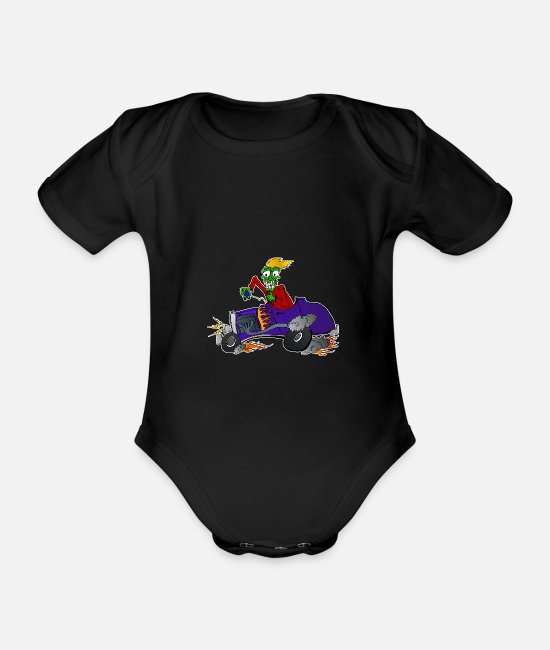 Pinstriping Baby Bodysuits - Hot Rod Racing Monster - white - Organic Short-Sleeved Baby Bodysuit black