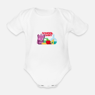 School First day of school - Organic Short-Sleeved Baby Bodysuit