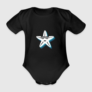 Starfish with sunglasses Cool gift kids - Organic Short-sleeved Baby Bodysuit