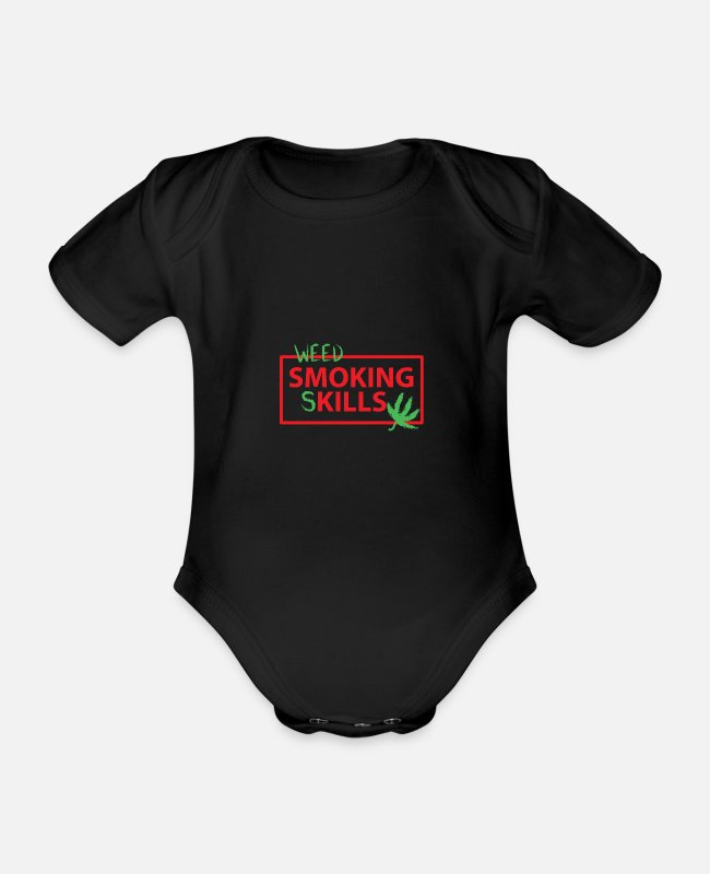 Rasta Baby Bodysuits - Marijuana smoking skills - Organic Short-Sleeved Baby Bodysuit black