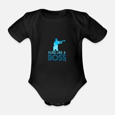 Trance Floss like a boss gift - Organic Short-sleeved Baby Bodysuit