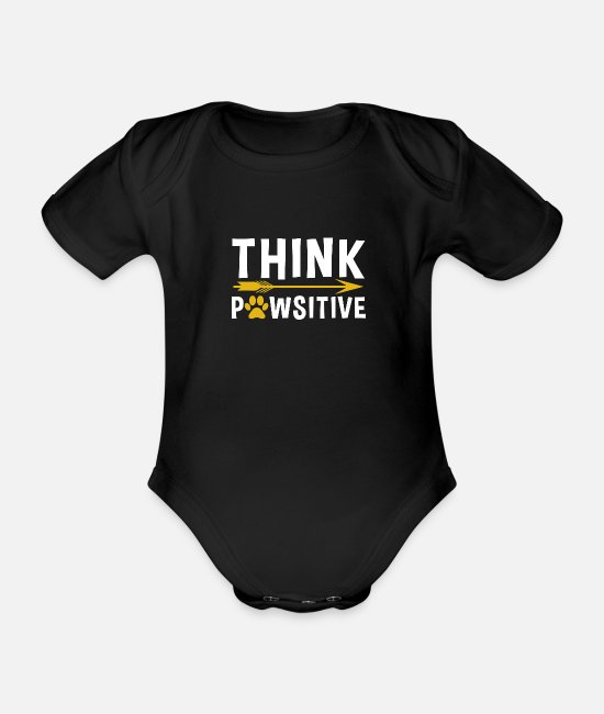 Pregnancy Baby Bodysuits - Dog dog think positive thinking positive love life - Organic Short-Sleeved Baby Bodysuit black