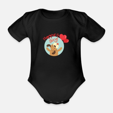 Happy Puppy Puppy Love National Puppies Day - Organic Short-Sleeved Baby Bodysuit