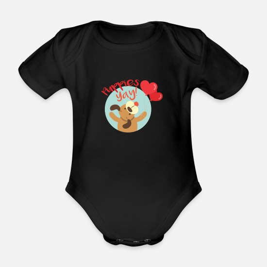 Dog Owner Baby Clothes - Puppy Love National Puppies Day - Organic Short-Sleeved Baby Bodysuit black