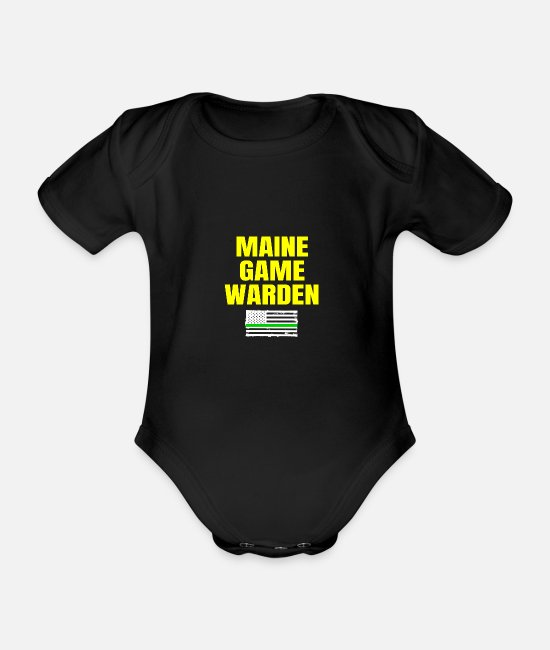 Gamekeeper Baby Bodysuits - Maine Game Warden Plain Gift For Men Or For Women - Organic Short-Sleeved Baby Bodysuit black