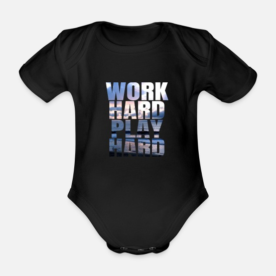 Charts Baby Clothes - Work Hard Play Hard - Organic Short-Sleeved Baby Bodysuit black
