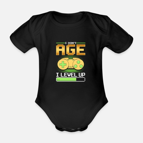 Organic Short Sleeved Baby BodysuitFunny Level Up Birthday Print Gift For Gamer