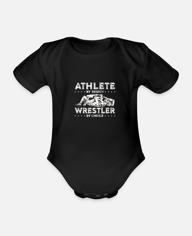 Take Baby Bodysuits - Wrestlers by conviction | athletic gift - Organic Short-Sleeved Baby Bodysuit black