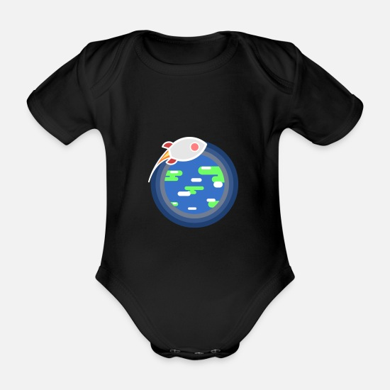 Outerspace Baby Clothes - Orbital missile - Organic Short-Sleeved Baby Bodysuit black