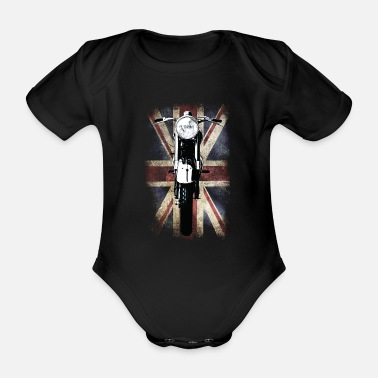 Spreadshirt Vintage Motor Cycle BSA feature patjila - Organic Short-Sleeved Baby Bodysuit