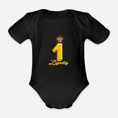 Party 1. birthday boy 1 year gift crown unique - Organic Short-Sleeved Baby Bodysuit