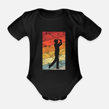 Ball Golfing Retro Golfer Golfer Golf Golf Clubs - Organic Short-Sleeved Baby Bodysuit