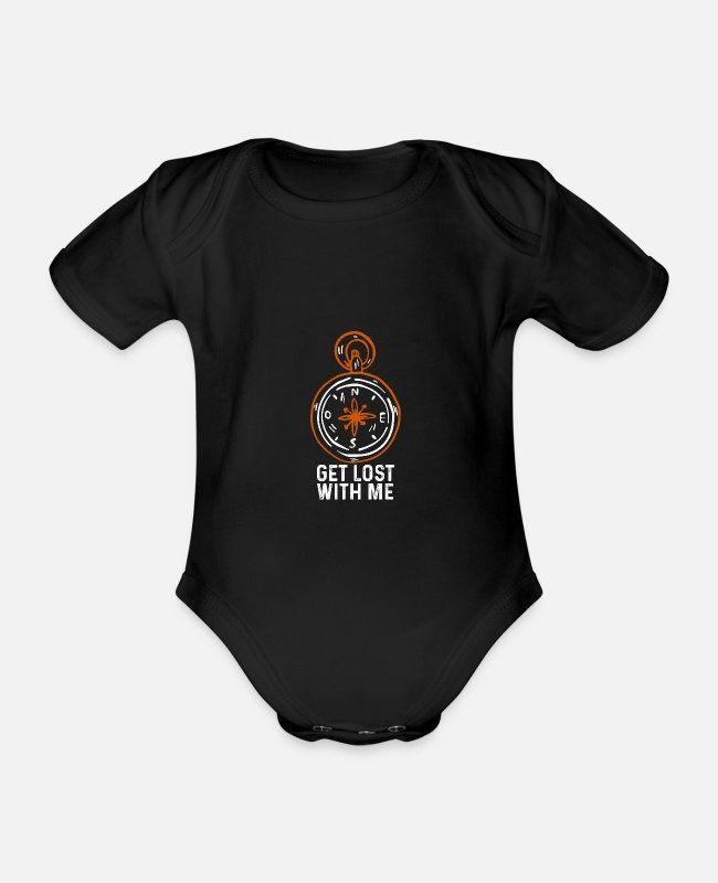 Travel Baby Bodysuits - Get lost with me - Organic Short-Sleeved Baby Bodysuit black