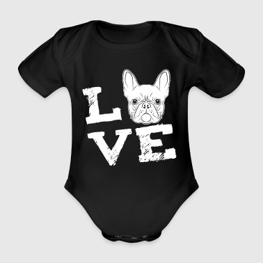 Bulldog LOVE - French Bulldog - French Bulldog - Organic Short-sleeved Baby Bodysuit
