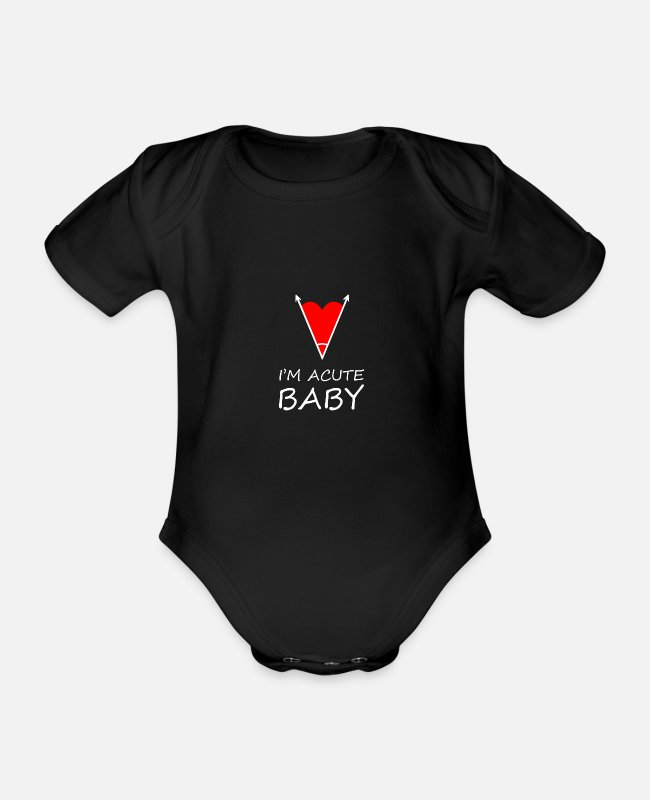 Heart Baby Bodysuits - I'm acute Nerd Cute Funny Design Baby - Organic Short-Sleeved Baby Bodysuit black