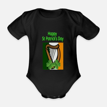 Harp Happy St Patrick s Day With Harp Flag and Shamrock - Organic Short-Sleeved Baby Bodysuit