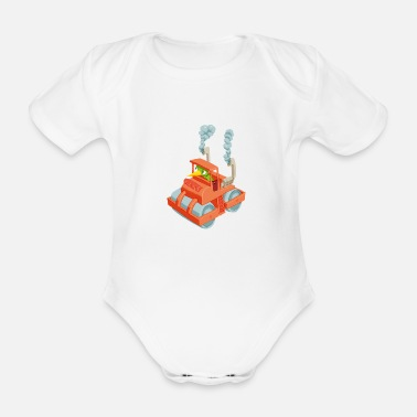 Vehicle Caterpillar in a vehicle - Organic Short-Sleeved Baby Bodysuit