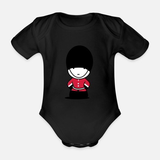 Funny Baby Clothes - A Royal Guard in London - Organic Short-Sleeved Baby Bodysuit black