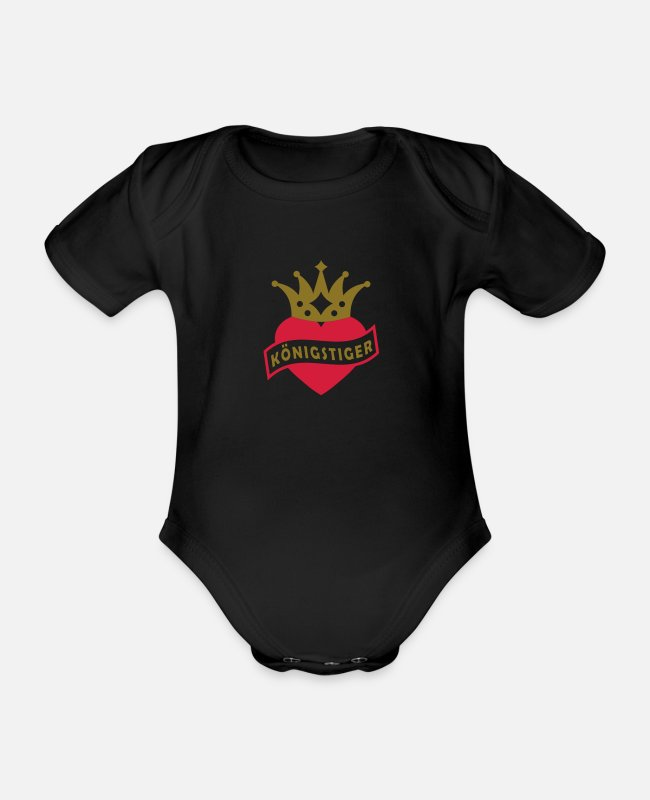 Heart Baby Bodysuits - With Heart & Crown - KING TIGER - Organic Short-Sleeved Baby Bodysuit black