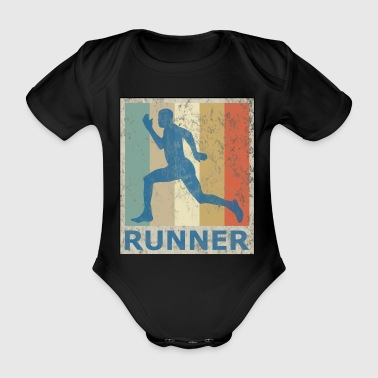 Retro Vintage Style Sprinter Jogging Running Workout - Organic Short-sleeved Baby Bodysuit