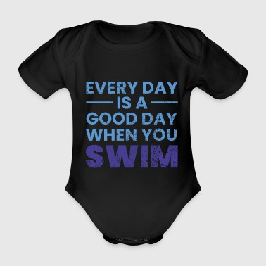 Swimming swimmer gift sports swimming pool - Organic Short-sleeved Baby Bodysuit
