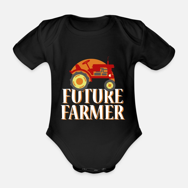 V8 Baby Clothing - Tractor Cool Trecker Gift Farmer Bauer Shirt - Organic Short-Sleeved Baby Bodysuit black