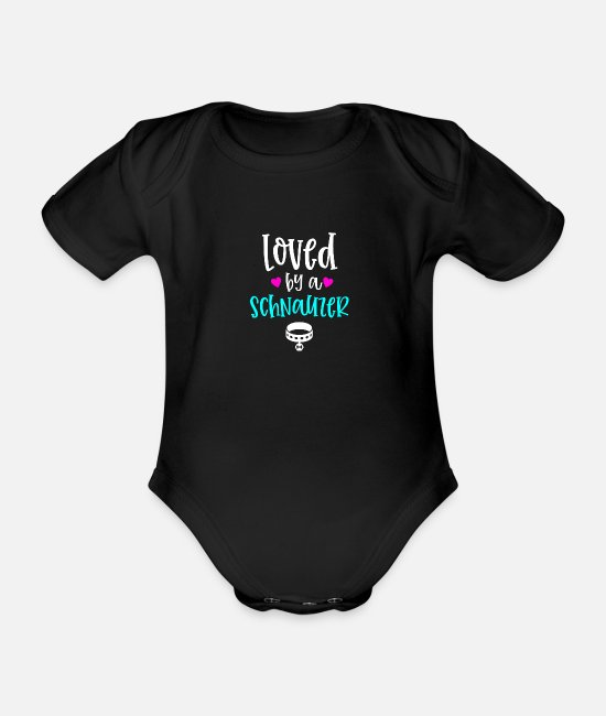 Doggo Baby Bodysuits - Loved By A Schnauzer Dog Lover - Organic Short-Sleeved Baby Bodysuit black