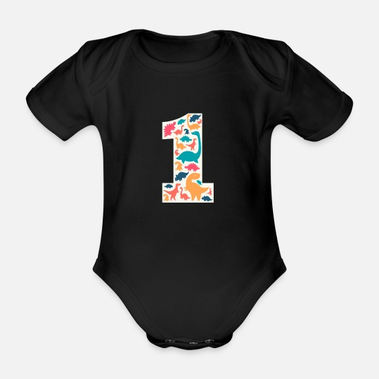 Trex Baby Clothes - 1 Year Birthday Dino Dinosaur T Rex - Organic Short-Sleeved Baby Bodysuit black