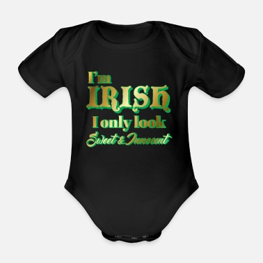 Funny St Patricks Day - Irish - Funny - Gift - Organic Short-Sleeved Baby Bodysuit