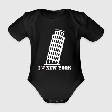 I Love New York Tower Of Pisa Pun Prankster Joke - Organic Short-sleeved Baby Bodysuit