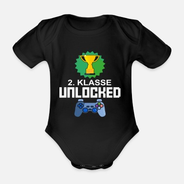 Level Unlocked 2. Klasse Gamer Geschenk Gaming - Baby Bio Kurzarmbody
