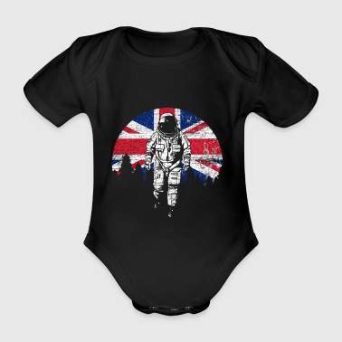 Astronaut Moon UK UK Flag - Organic Short-sleeved Baby Bodysuit