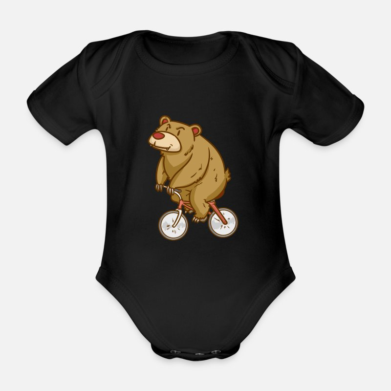 Sports Baby Clothing - Bear - Biking - Sports - Gift - Organic Short-Sleeved Baby Bodysuit black