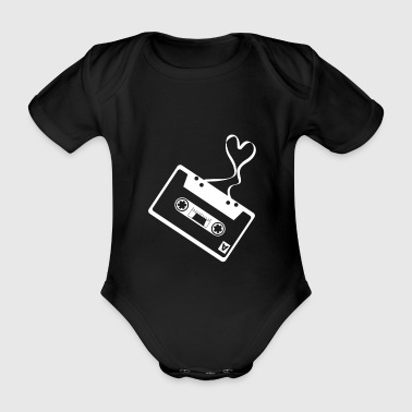 Audio cassette tape heart music love retro shirt - Organic Short-sleeved Baby Bodysuit