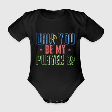 Will you be my player two? Antrag Geschenk - Baby Bio-Kurzarm-Body