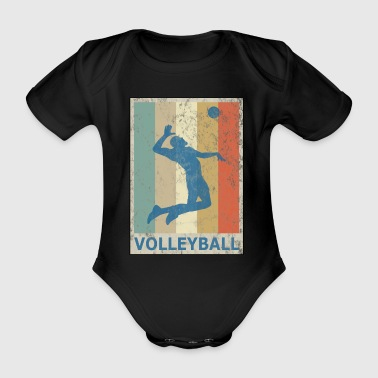 Retro Vintage Style Beach Volleyball Player - Organic Short-sleeved Baby Bodysuit
