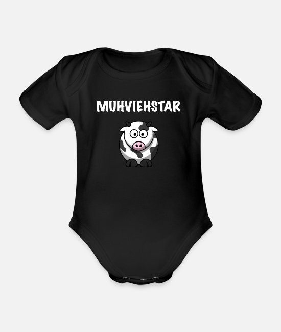 Star Baby Bodysuits - Muhviehstar funny cow - Organic Short-Sleeved Baby Bodysuit black