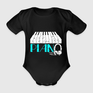 Electric piano gift saying headphone piano - Organic Short-sleeved Baby Bodysuit