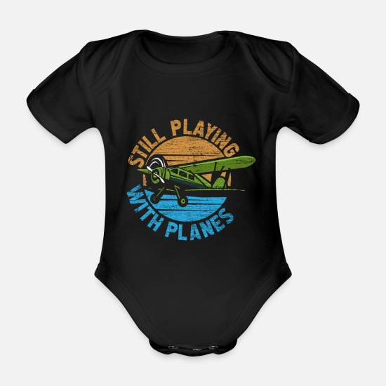 Flight Baby Clothes - pilot - Organic Short-Sleeved Baby Bodysuit black