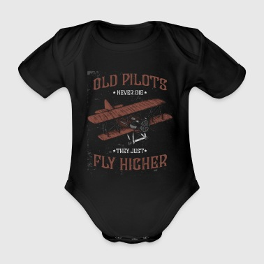 Old pilots fly higher - Organic Short-sleeved Baby Bodysuit