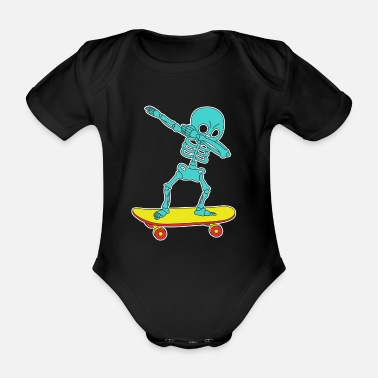 Skater Funny & Cool Tshirt Design Skeleton Skater Dab - Organic Short-Sleeved Baby Bodysuit