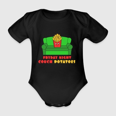 Awesome Trend Design Fryday T-shirt Fryday Night Couch Potatoes - Kortærmet babybody, økologisk bomuld