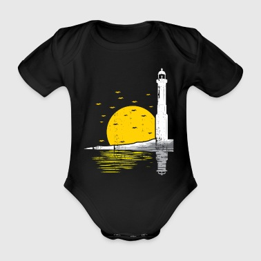 Lighthouse sun Sunset Seagulls - Organic Short-sleeved Baby Bodysuit
