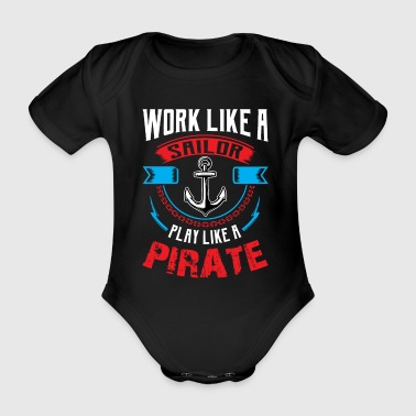 Sailor sea ship anchor sailing pirate water wind - Organic Short-sleeved Baby Bodysuit