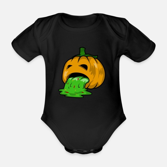 Zombie Apocalypse Baby Clothes - Puking Halloween Pumpkin Shirt - Organic Short-Sleeved Baby Bodysuit black
